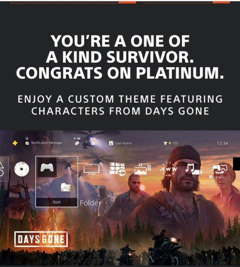 Days Gone Tema per trofeo platino