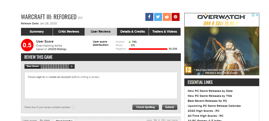Warcraft 3 Reforged metacritic